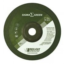 Rex-Cut 4-1/2x1/4x7/8 Green Sigma 36 Grit TY27 Grinding Wheel 25pk - REX 730000
